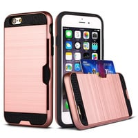 Luxury Brushed Card Slots Design Rubber Soft TPU + Hard PC Hybrid Case For Apple iPhone 6 6S Plus Case ShockProof Back cover
