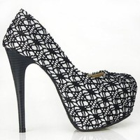 Show Story Womens Sexy Lace Overlay Hidden Platform Stiletto Pumps,LF36581