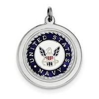US Navy Disc Charm in Sterling Silver