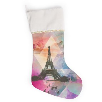 "alyZen Moonshadow ""Eiffel Tower (Deep Pink)"" Pink France Christmas Stocking"
