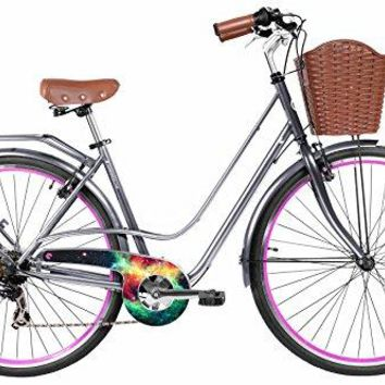Gama Bikes Women's City Avenue Step-Thru 6 Speed Shimano Hybrid Urban Cruiser Commuter Road Bicycle, 700c wheels