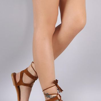Bamboo Ankle Wrap Flat Sandal