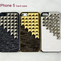 Studded iPhone 5g case, Gold pyramid studs iPhone 5 case, Luxurious iPhone 5 case