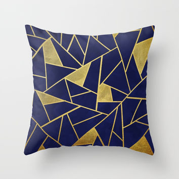 Geometric indigo & gold pattern Throw Pillow by vivigonzalezart