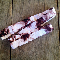 """Chocolate-White Hand Tie Dyed 5/8"""" Fold Over Elastic"""