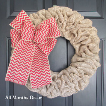 Burlap Wreath with Red Chevron Burlap Bow, Country, Fall Autumn Winter, Thanksgiving, Year Round, Christmas Porch Door Decor