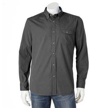 SONOMA life + style Solid Crosshatch Casual Button-Down Shirt - Big & Tall, Size: