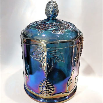 Indiana Harvest Blue Iridescent Carnival Glass Grape and Leaf Canister Cookie Jar 1960s 60s Mid Century Vintage Country Cottage Home Decor