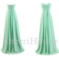 Mint Sweetheart Strapless Empired Long Bridesmaid Celebrity Cocktail Dress ,Floor Length Chiffon Evening Party Prom New Homecoming Dress