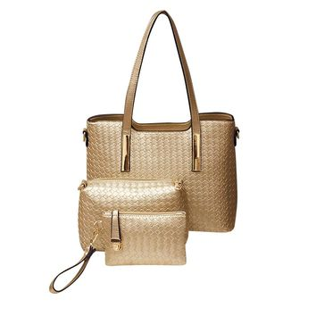 3 Pcs Crochet Women Bag Set PU Female Shoulder Tote Clutch Women Leather Handbags Composite Bag Lady Tote Small Knitted Bolsa