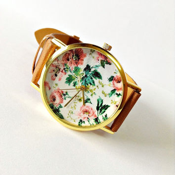 Floral Watch Women Watches Leather Watch Ladies Watch Boyfriend Teens Personalized Watch Unique Gifts Watches Spring Fashion Jewelry For Her
