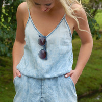 Don't Fade On Me Chambray Romper