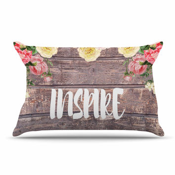 "Suzanne Carter ""Inspire"" Contemporary Typography Pillow Case"