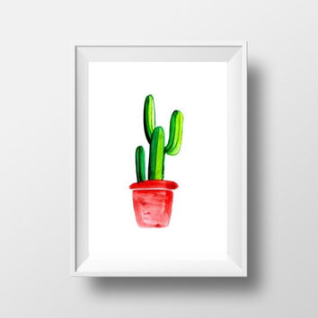 Cactus Printable Wall Art cacti home decor nursery print large print watercolor Botanical plant drawing cactus pot poster succulent picture