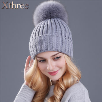 Xthree real fox fur pom poms ball Keep warm winter hat for women girl 's wool hat knitted beanies cap thick female cap
