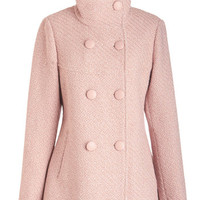 ModCloth Pastel Long Long Sleeve Double Breasted Stratus Quo Coat in Rose