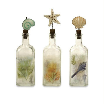 3 Decorative Glass Bottles - Sea Shell & Nautical Designs