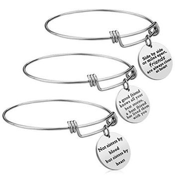 iJuqi Best Friend Gift Charm Bracelet  3 PCS Stainless Steel Expendable Inspirational Bangle Bracelets BFF Jewelry Set Christmas Gifts Graduation Gifts Birthday Gifts