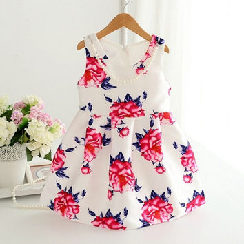 Girls Fashion Round Neck Sleeveless Print Dress = 1782392260