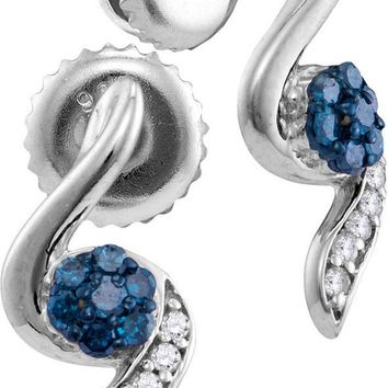 Sterling Silver Womens Round Blue Colored Diamond Cluster Stud Earrings 1/5 Cttw