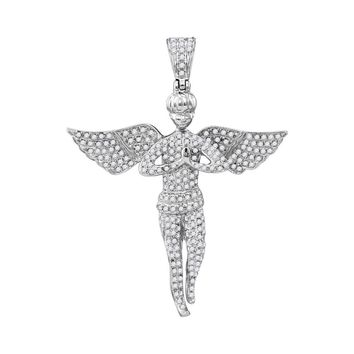 10kt White Gold Mens Round Diamond Angel Wings Religious Charm Pendant 1.00 Cttw