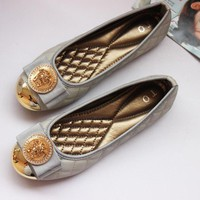 Versace Women Fashion Leather Moccasin-Gommino Flats Shoes