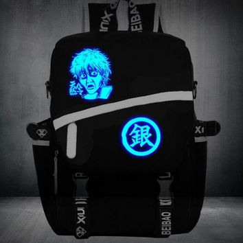 gintama  Anime Sakata Gintoki Luminous lolita  mask teenagers Backpack japanese School uniform travel Shoulder Bag Laptop Bags