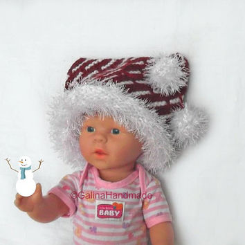 Newborn Santa Hat,  Baby Santa Hat, Toddler Christmas Hat, Hand Knit Santa Hat, Infant Christmas Outfit, Santa Claus, Infant Santa Hat