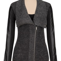 Sweater Jacket With Faux Leather Sleeves - Gray
