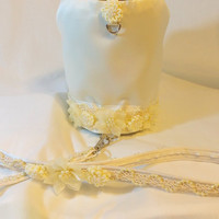 RockinDogs Bridal Wedding Dog or Cat Harness and Matching Pearl Leash Set. Ivory or White