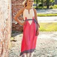 Pink High Neck Maxi Dress with Lace and Purple Tie Waist