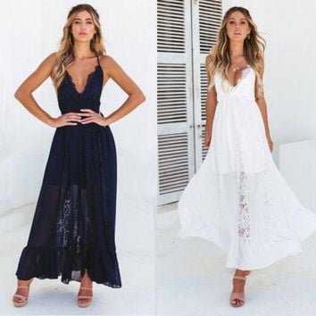 4565eb427cc New Women Boho Lace Long Maxi Dress Party Evening Summer Beach S