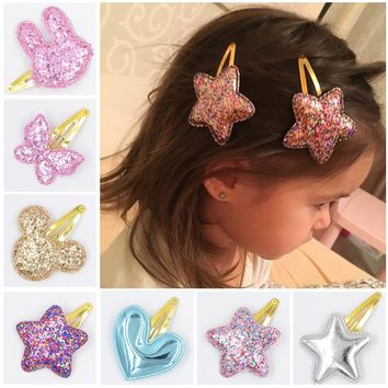 31 Style Baby Tie Bow Love Heart BB Hairpins Children Accessories Girls Mickey butterfly Princess Star Cute Barrette Hair Clip