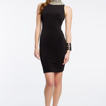 Beaded Collar Dress with High Neck