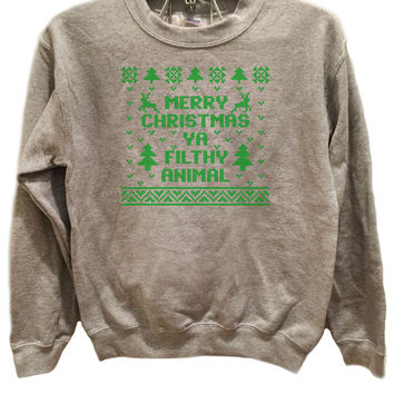 Merry Christmas Ya filthy animal Design 1- Ugly Christmas Sweater Green