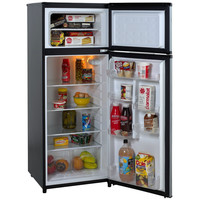 7.4 Cubic Feet Refrigerator with Top Freezer in Black with Platinum Finish