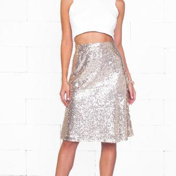 Indie XO Kickin' Up Stardust Gold Metallic Sequin Sparkle A Line Flare Knee Length Midi Skirt - Just Ours!