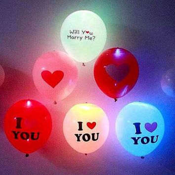 DKF4S 12inch Flash Light Glow 5Pcs Led Balloons 2016 Event Party Supplies Heart Wedding Birthday Decoration
