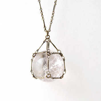 Quartz Necklace » Quartz Crystal Ball Necklace » Quartz Sphere » Quartz Pendant » Healing Crystals » Boho Jewelry » Captive Quartz Gemstone