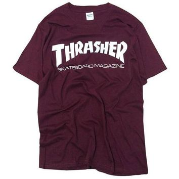 ICIKG2 New thrasher T Shirt Men Skateboards tee Short Sleeve skate Tshirts Tops Hip Hop T shirt homme Man Magazine trasher T shirts