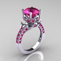 Classic French 10K White Gold 3.0 Carat Pink Sapphire Solitaire Wedding Ring R401-10KWGPS