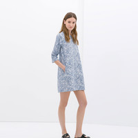 PRINTED DENIM DRESS WITH RUFFLES