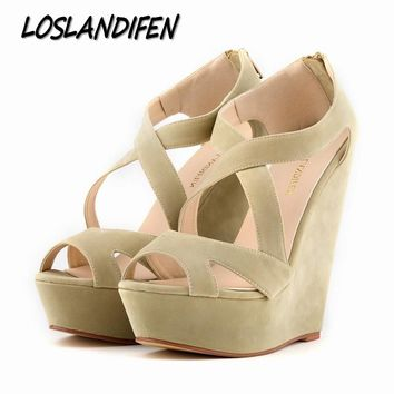 Loslandifen brand New women's pumps high heels sandals shoes women wedge peep toe platforms gladiator cross strap shoe 35-42