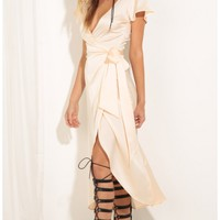 Party dresses > Plunge Satin Wrap Dress In Peach