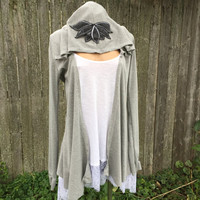 Yoga Wrap Fleece Hoodie Grey Cardigan All Sizes Lightweight Jacket Fall Clothing Cute Oversized Sweater Thumb Holes Grey Cover Up Tie Front