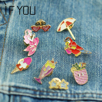 HOT Style Cute Lemon Cup Parrot Beach Cup Cartoon Charm Broches Pins For Woman Free Shipping Jeans Bag Gift Jewelry 2016 NEW