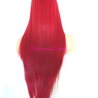 SCARLETT Red Straight Hair Lace Part Wig 26""