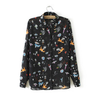 Online Shop Blouse New Arrival Freeshipping Full Az-35977 Spring 2014 New Universe Space Monster Pattern Printing Sleeved Chiffon Shirt Girl |Aliexpress Mobile