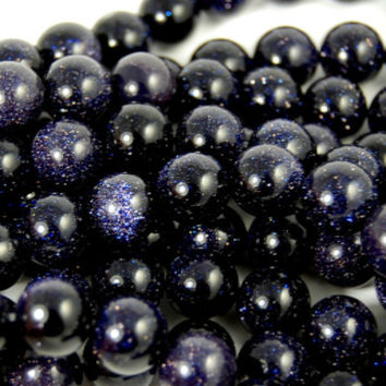 10mm Darkest of Blue Goldstone- 15 inch strand