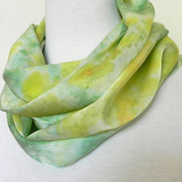 Crepe Silk Scarf Hand Dyed Golden Yellow and Green, Spring Garden, Ready to Ship